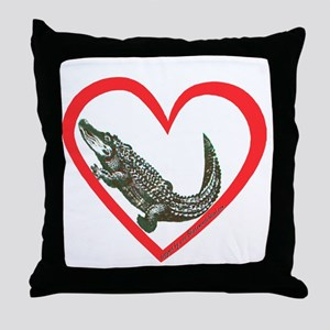 Alligator Heart Throw Pillow