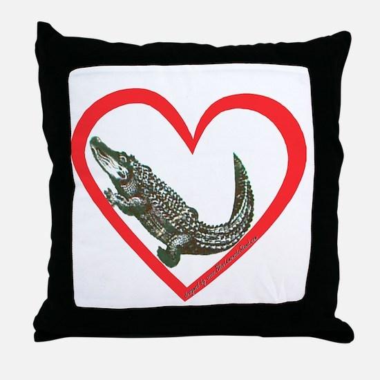 Alligator Heart Throw Pillow