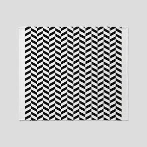 Black Herringbone Pattern Design Throw Blanket