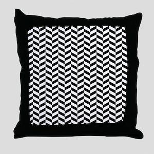 Black Herringbone Pattern Design Throw Pillow