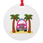 Surfing Girl Pink Car Beach Ornament