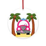 Surfing Girl Pink Car Beach Ornament (Round)