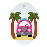 Surfing Girl Pink Car Beach Ornament (Oval)