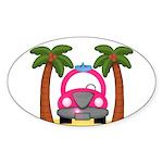 Surfing Girl Pink Car Beach Sticker
