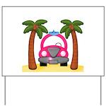 Surfing Girl Pink Car Beach Yard Sign