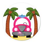 Surfing Girl Pink Car Beach Round Car Magnet