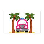 Surfing Girl Pink Car Beach Rectangle Car Magnet