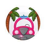 Surfing Girl Pink Car Beach Button
