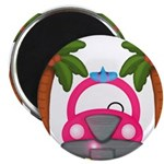 Surfing Girl Pink Car Beach Magnets