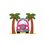 Surfing Girl Pink Car Beach Wall Decal