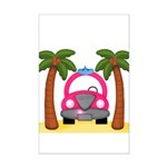 Surfing Girl Pink Car Beach Posters