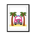 Surfing Girl Pink Car Beach Framed Panel Print