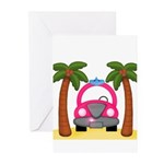 Surfing Girl Pink Car Beach Greeting Cards