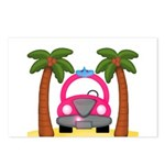 Surfing Girl Pink Car Beach Postcards (Package of