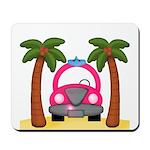 Surfing Girl Pink Car Beach Mousepad