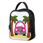 Surfing Girl Pink Car Beach Neoprene Lunch Bag