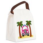 Surfing Girl Pink Car Beach Canvas Lunch Bag
