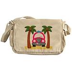 Surfing Girl Pink Car Beach Messenger Bag