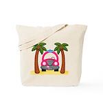 Surfing Girl Pink Car Beach Tote Bag