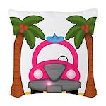 Surfing Girl Pink Car Beach Woven Throw Pillow