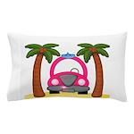 Surfing Girl Pink Car Beach Pillow Case