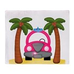 Surfing Girl Pink Car Beach Throw Blanket