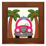Surfing Girl Pink Car Beach Framed Tile