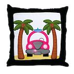 Surfing Girl Pink Car Beach Throw Pillow