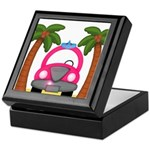 Surfing Girl Pink Car Beach Keepsake Box