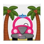 Surfing Girl Pink Car Beach Tile Coaster