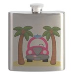 Surfing Girl Pink Car Beach Flask