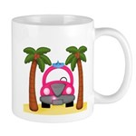 Surfing Girl Pink Car Beach Mugs