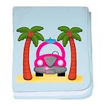 Surfing Girl Pink Car Beach baby blanket