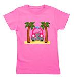 Surfing Girl Pink Car Beach Girl's Tee