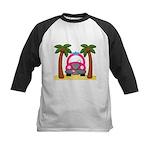 Surfing Girl Pink Car Beach Baseball Jersey