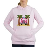 Surfing Girl Pink Car Beach Women's Hooded Sweatsh