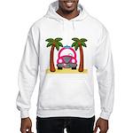 Surfing Girl Pink Car Beach Hoodie