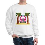 Surfing Girl Pink Car Beach Sweatshirt