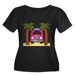 Surfing Girl Pink Car Beach Plus Size T-Shirt