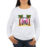 Surfing Girl Pink Car Beach Long Sleeve T-Shirt