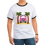 Surfing Girl Pink Car Beach T-Shirt