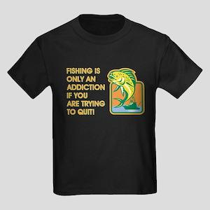FISHING IS ONLY Kids Dark T-Shirt