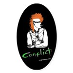 """""""Conflict"""" Oval Sticker"""
