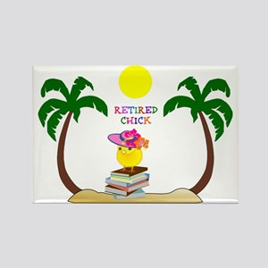 Retired Chick, tropical paradise Rectangle Magnet