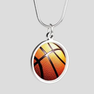 Basketball Ball Silver Round Necklace