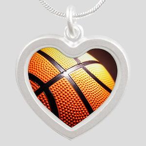 Basketball Ball Silver Heart Necklace