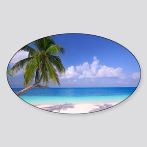 Tropical Beach Sticker (Oval)