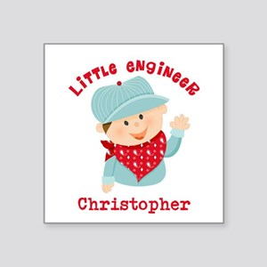 """Little Engineer Personalize Square Sticker 3"""" x 3"""""""