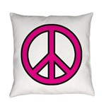 Pink Peace Sign Everyday Pillow
