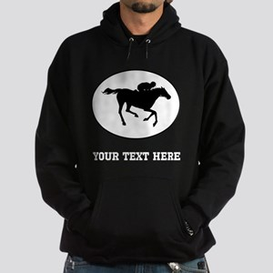 Horse Racing Silhouette Oval (Custom) Hoodie